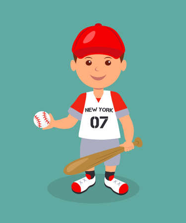 little league: Cheerful boy baseball player with bat and ball. Isolated man character in a red baseball uniform with bat and ball in his hands.