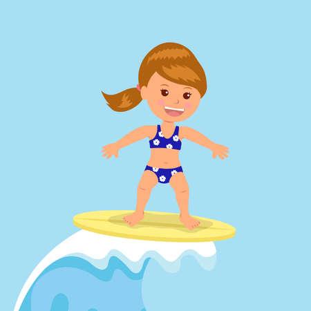 enfant maillot de bain: Fille surfeur monte les vagues. design concept de vacances d'�t� par l'oc�an.