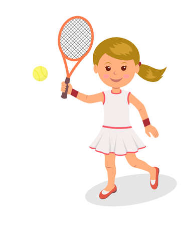 girl tennis: Girl plays tennis. The isolated character of a woman with racket and tennis ball on a white background.