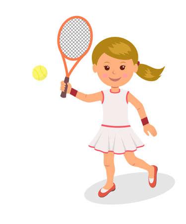 jugando tenis: La muchacha juega al tenis. El carácter aislado de una mujer con la raqueta y pelota de tenis en un fondo blanco. Vectores