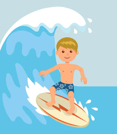 Boy surfer rides on the waves. Concept design of a summer holidays by the ocean.