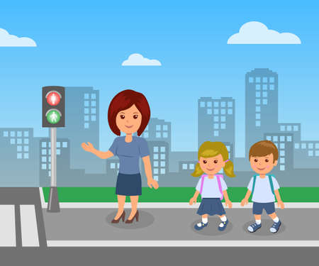 Pedestrian traffic light. The teacher shows and explains the rules of road safety for children pupils. City infographics road safety. Illustration