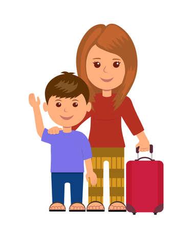 nene y nena: Madre e hijo con bolsas de equipaje. infograf�a concepto viajeros. personajes aislados de mujeres y ni�o peque�o con el equipaje.