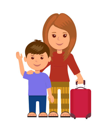 boy lady: Mother and son with luggage bags. Concept infographics travelers. Isolated characters women and little child with baggage.