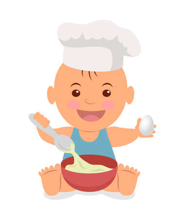 little chef: Cute little chef. Toddler in a cook cap with a spoon and an egg in the hands knead. Isolated character for infographics healthy nutrition.