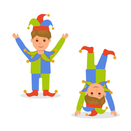arms raised: Isolated character in jester costume. April Fools Day. Joker standing with arms raised and standing on his head.