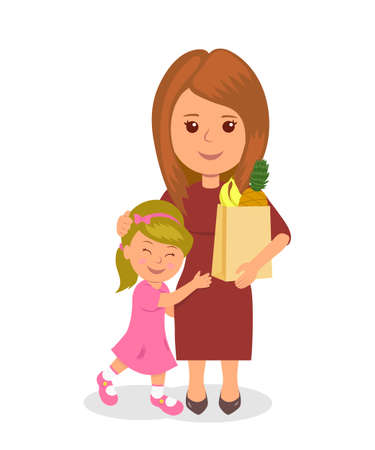 proper: Mother and child shopping. Concept infographics proper nutrition Illustration