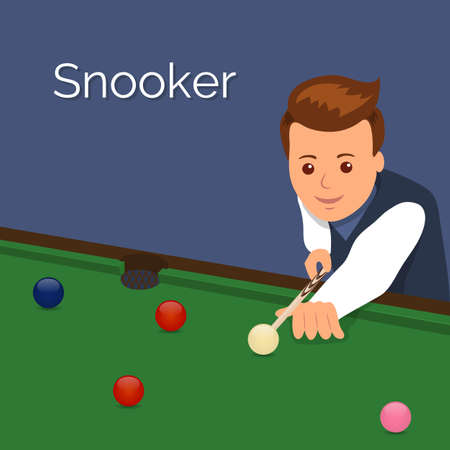 pool hall: The player billiards. Man aim to make an impact on the ball. The game of snooker.