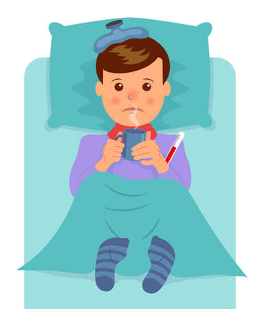 cartoon person: Sick man lies and drinks hot drink. Flu symptoms, fever, pain, malaise.