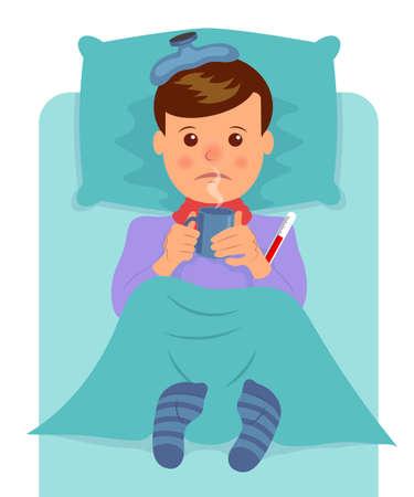 Sick man lies and drinks hot drink. Flu symptoms, fever, pain, malaise.