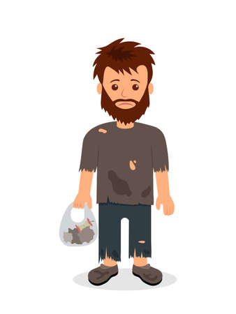 Homeless. Shaggy man in dirty rags and with a bag in his hand. Isolated character bum for infographics. Ilustração