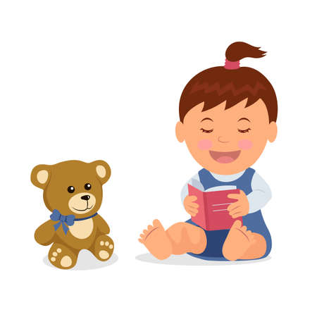 Cute girl reading a book to his teddy bear. Isolated toddler character is reading a book while sitting on the floor in a flat style.