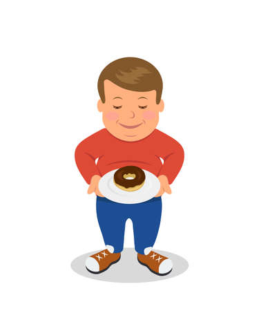 bulimia: Fat boy standing and holding a plate with donuts. Overweight. Concept design of proper nutrition. Sad male figure obese is isolated on a white background.
