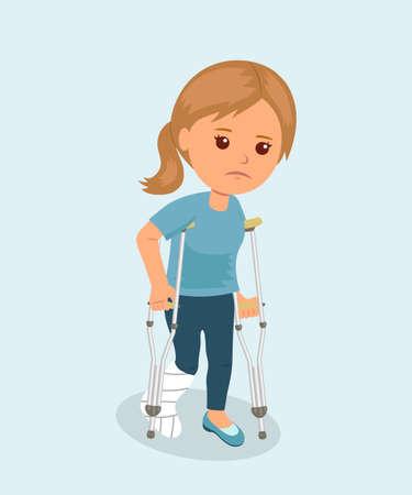 Mujer con muletas y un vendaje de yeso en la pierna médica. Concepto de seguridad. Seguro de salud. Fractura de hueso. carácter aislado. Ilustración de vector