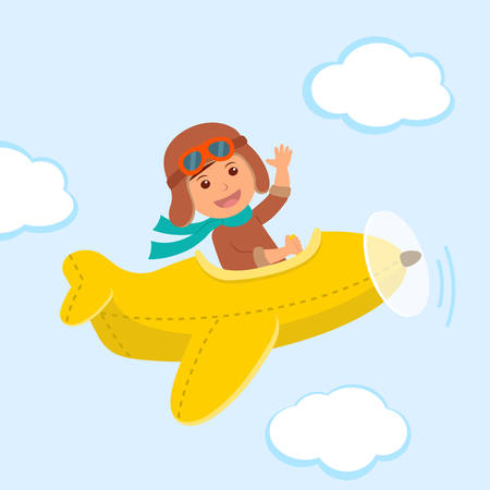 yellow adventure: Cute boy pilot flies on a yellow plane in the sky. Air adventure.