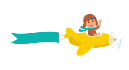 man and banner: Cute boy pilot flies on a yellow plane in the sky. Air adventure. Isolated cartoon illustration.