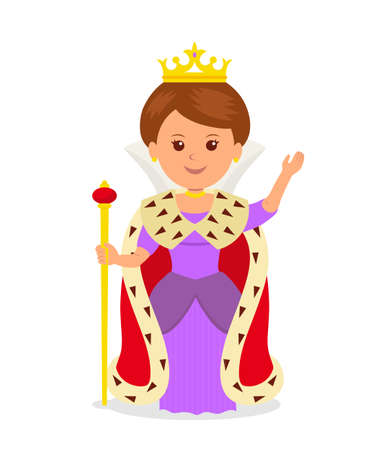 scepter: Cute girl Queen. Isolated female character in a princess costume with a crown and scepter on a white background.