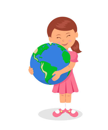 green little planet earth: The child and the Earth: Little girl hugging the earth on a white background. The design concept of Earth Day. Love for the Earth and care for the environment.