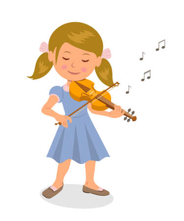 Cute girl playing the violin. Isolated character girl with a violin on a white background. Musical education.  イラスト・ベクター素材
