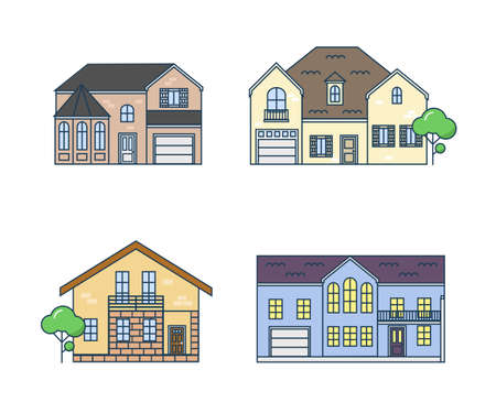 country house style: Flat line architecture design. Set linear house. Stroke color icon set of buildings. The linear set of the country real estate. Isolated outline trendy houses in the flat style.