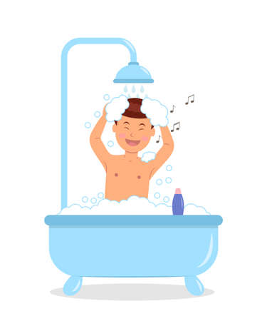 personas tomando agua: Muchacho que toma un baño con burbujas de jabón. Concepto de diseño de un varón de canto de tomar un baño. Ilustración aislada en un estilo plano. Vectores