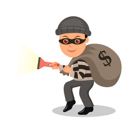 tiptoe: Cartoon character burglar in a mask with the stolen bag. Male in a mask with a bag and a torch sneaks on tiptoe.