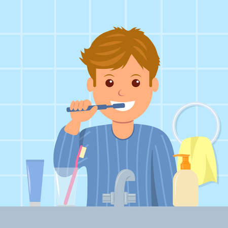 Het kind in pyjama tanden poetsen voor het slapengaan. Mondhygiëne. Cartoon karakter van een man met een tandenborstel in zijn hand. Het verzorgen van tandheelkundige gezondheid.