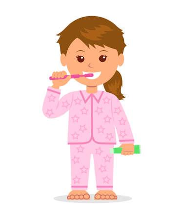 Das Kind in den Pyjamas, die Zähne vor dem Zubettgehen zu bürsten. Mundhygiene. Isolierte Cartoon-Figur Mädchen mit einer Zahnbürste und Zahnpasta in einer Hand. Die Pflege der Zahngesundheit.
