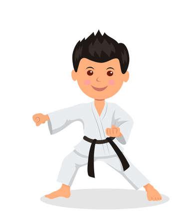 fighter dziecko jest zaangażowane w karate-do. Izolowane znak męskiej w kimono z czarnym pasem sztuki walki wykonywać ćwiczenia.