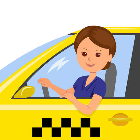 The girl behind the wheel of a taxi driver. Concept background for order a taxi. Cartoon illustration of the trip in a taxi. 矢量图像