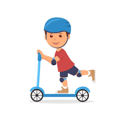 child boy: Cheerful boy riding a scooter. The isolated character of the child in a helmet and elbow pads with knee pads for safely riding a scooter.