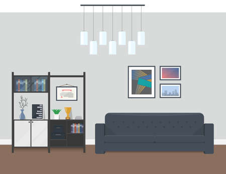 pastime: Interior design of modern living room. Recreation area in the office, hotel or apartment. Sofa and a bookcase for a pleasant pastime.