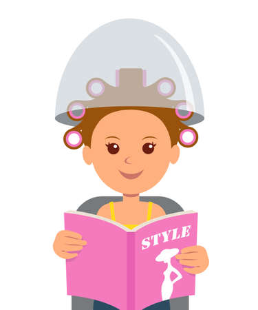 frizz: An attractive girl with hair curlers reading a fashion magazine. Hair care and hairdo in barber shop. Fashion. Hairdressing. Lifestyle.