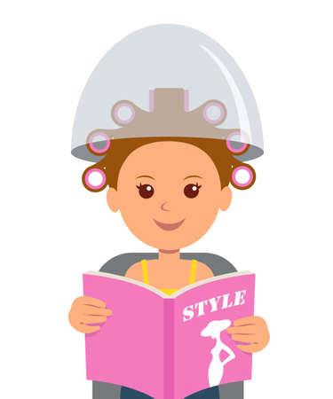rulos: Una chica atractiva con los bigudíes de pelo leyendo una revista de moda. el cuidado del cabello y el peinado en la peluquería. Moda. Peluquería. Estilo de vida.