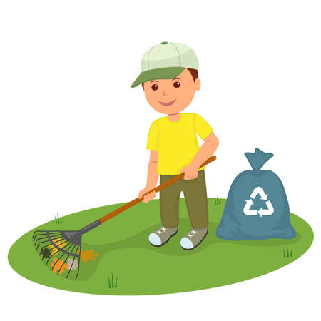 A boy with a rake the lawn clean from garbage and older leaves. Isolated character volunteer with a rake and garbage bags cleans the lawn. Concept design of correct recycling and ecology.
