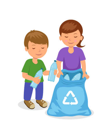 cleaning earth: Cute kids to gathering plastic bottles in garbage bag. The concept of environmental protection. Isolated boy and girl characters volunteers.