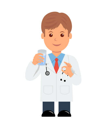 doctor giving glass: Doctor with pill and glass of water in hand. Isolated character male doctor giving a pill. Illustration