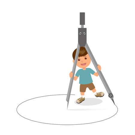 Cheerful boy with pair of compasses. Concept design of a schoolboy holds circinus. Template background for Teachers Day or Childrens Day. Illustration