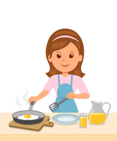 prepare: Cute girl in an apron prepares an omelet. Mom to cook breakfast. Concept design of motherhood and household chores.
