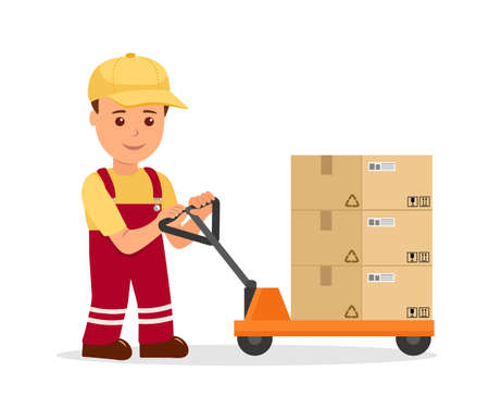 fulfillment: Warehouse worker man towing hand forklift with boxes. Concept work in the service delivery and logistics in a flat style.