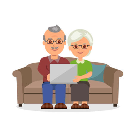 web surfing: Social concept elderly couple web surfing on internet with laptop. Cartoon cheerful pension couple sitting on the couch with a laptop in a flat style.