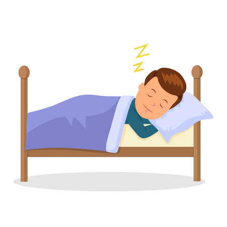 Child is sleeping sweet dream. Cartoon baby sleeping in a bed. Isolated vector illustration.