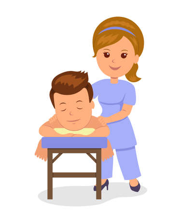 masseuse: Man getting relaxing massage in spa. Masseuse makes wellness massage. Isolated vector illustration in the flat style.