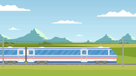 lea: The train moves on railway against the backdrop mountain landscape. Summer vacation. Time to travel banner. Wanderlust. Train trip in the flat style.