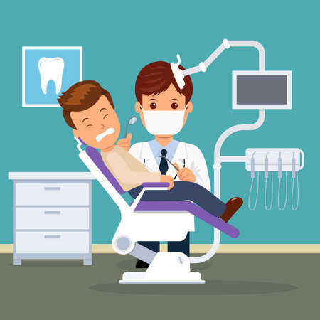 Dental office. Dentist and patient in the dental chair. Treatment and care of the oral cavity. Male in the dentist's chair with a toothache. Vector Illustration.