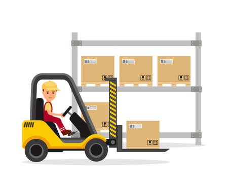Mężczyzna pracuje na operatora wózka widłowego. Magazyn. Rozładunek, przeładunek, składowanie i dostawa towarów. Ilustracja wektora.