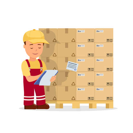 Cartoon man operator maintains records the cargo holding clipboard. Warehouse worker checking goods on pallet.