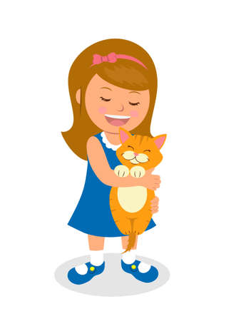 child care: Girl is holding a kitten. Isolated vector illustration cartoon child holding a cat. Concept of care about pets.