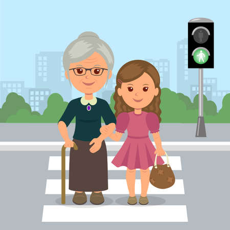 Young girl helps old woman to cross the road at a pedestrian crossing. Help the elderly. Safety traffic. Vector Illustration. Çizim