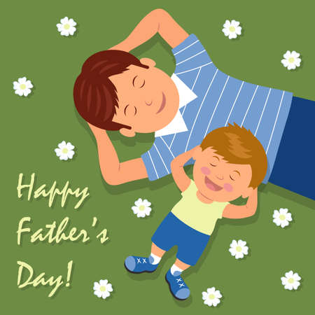 man lying down: Vector illustration of father and son lying down on lawn having fun. The background for the congratulations. Happy Fathers day.